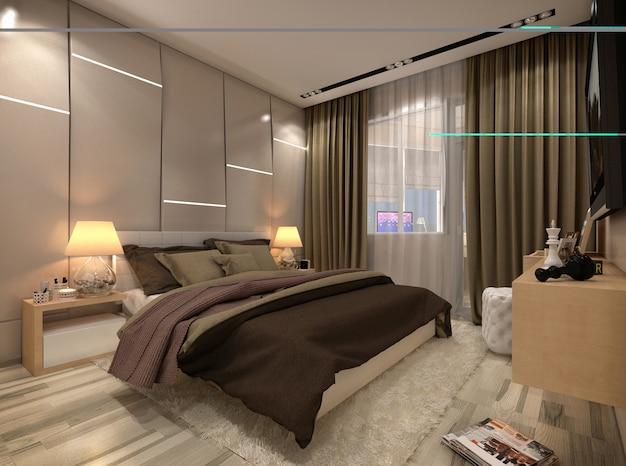 Chambre de rendu 3d dans une maison privée dans les couleurs marron et beige Photo Premium