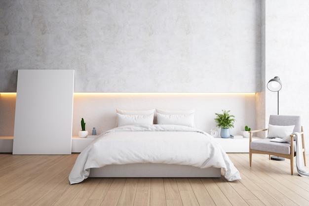 Chambre et style loft moderne, concept minimaliste de chambre confortable Photo Premium