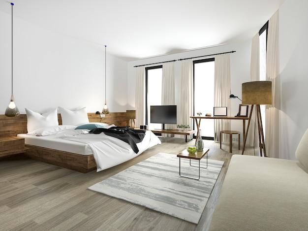 Chambre De Style Minimal En Bois Rendu 3d Avec Vue De La Fenêtre Photo Premium