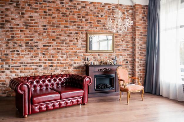 Chambre de style rétro et dans les tons marron, Photo Premium
