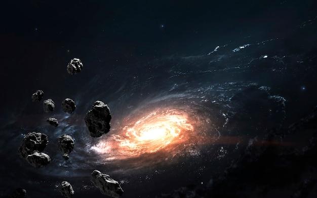 Champ D'astéroïdes Contre Galaxie, Fond D'écran Fantastique De Science-fiction, Paysage Cosmique. Photo Premium