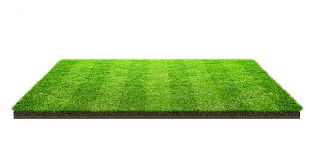 Champ d'herbe verte isolé sur blanc avec un tracé de détourage. terrain de sport. jeux d'équipe d'été. Photo Premium