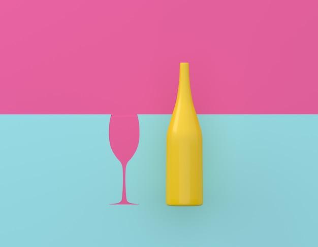 Champagne bouteille jaune avec des lunettes contrastent sur fond pastel bleu et rose. Photo Premium
