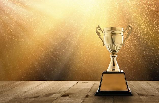 Champion d'or trophée sur table en bois avec espace copie et or twinkly lights et paillettes Photo Premium