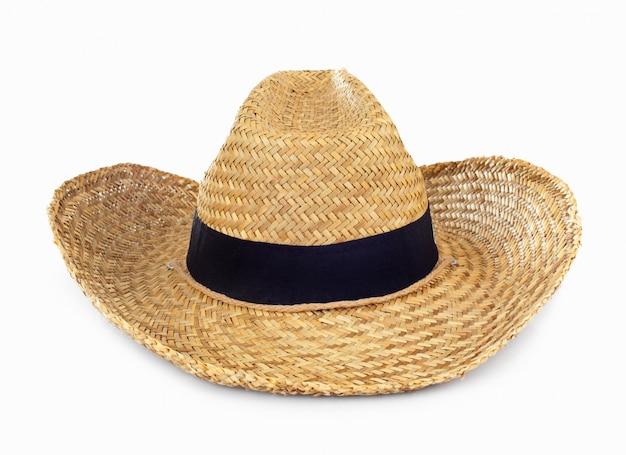 Chapeau de paille sur blanc Photo Premium