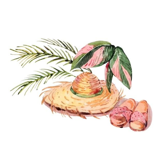 Chapeau De Paille Vintage Aquarelle D'été Avec Des Feuilles De Palmier Et Des Pantoufles Photo Premium