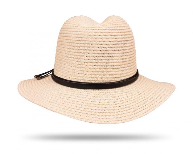 Chapeau de paille vintage avec une corde noire isolée sur fond blanc Photo Premium