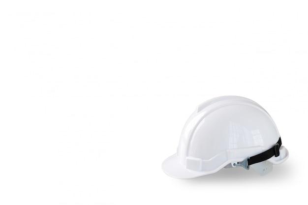 Chapeau de sécurité blanc pour ouvrier et ingénieur isolé et blanc Photo Premium