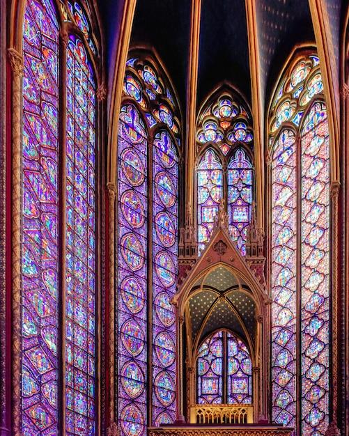La Chapelle Royale De Style Gothique De La Sainte-chapelle Avec Des Fenêtres Ornées De Bijoux à Paris, France Photo gratuit