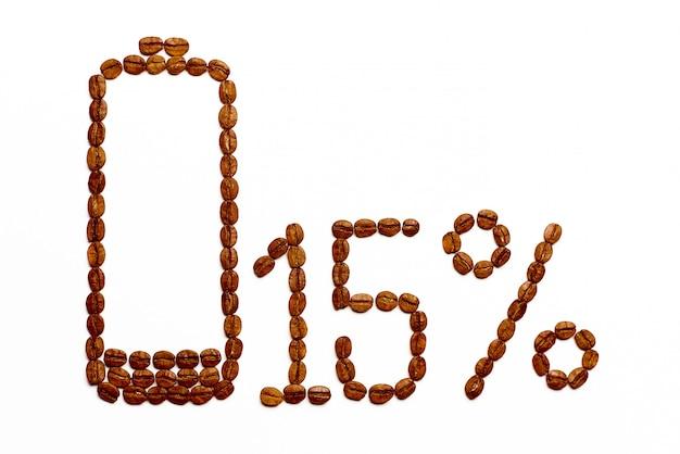 Charge de la batterie 15% de grains de café Photo Premium