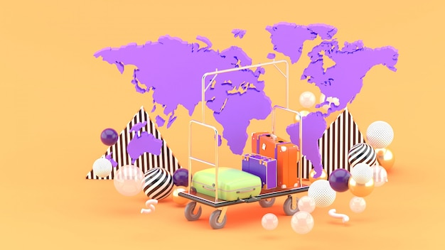 Chariot Bellboy Parmi La Carte Du Monde Et Des Boules Colorées Sur L'orange. Rendu 3d. Photo Premium