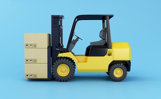 Chariot élévateur avec des boîtes en carton sur fond bleu clair. illustration de rendu 3d. Photo Premium