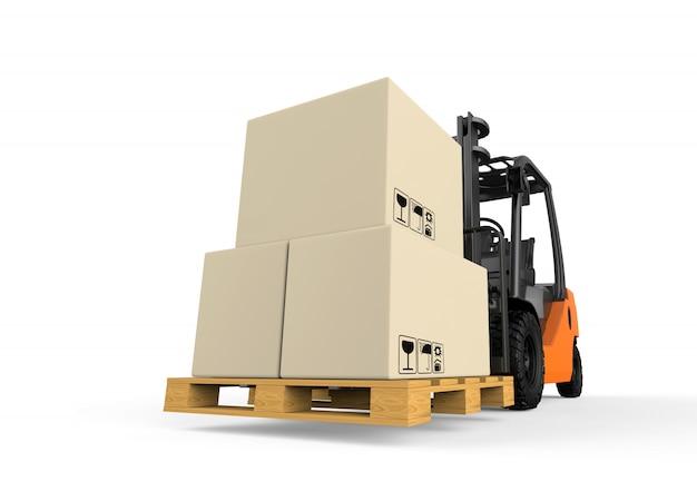 Chariot élévateur avec boîtes isolé sur blanc Photo Premium