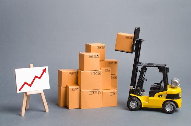 Chariot élévateur jaune avec des boîtes en carton et une flèche rouge vers le haut. augmenter les ventes, la production de biens Photo Premium
