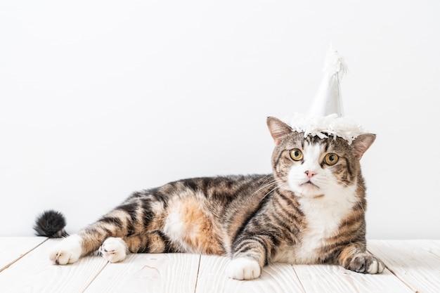 Chat avec chapeau de fête Photo Premium