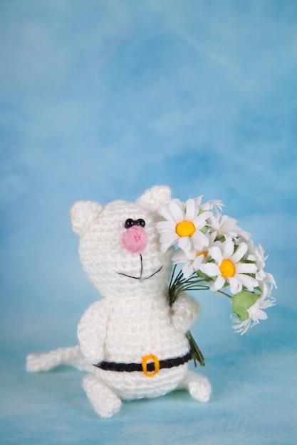 Chat tricoté. décor saint valentin. jouet tricoté, amigurumi, carte de voeux. Photo Premium