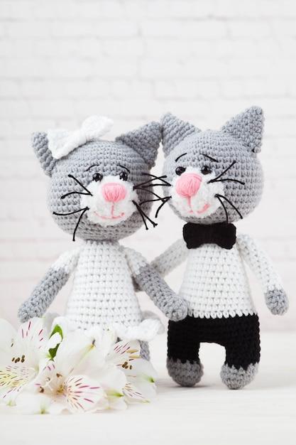 Chats tricotés, couple, jouets. fait à la main, amigurumi. fond blanc, carte postale. diy Photo Premium
