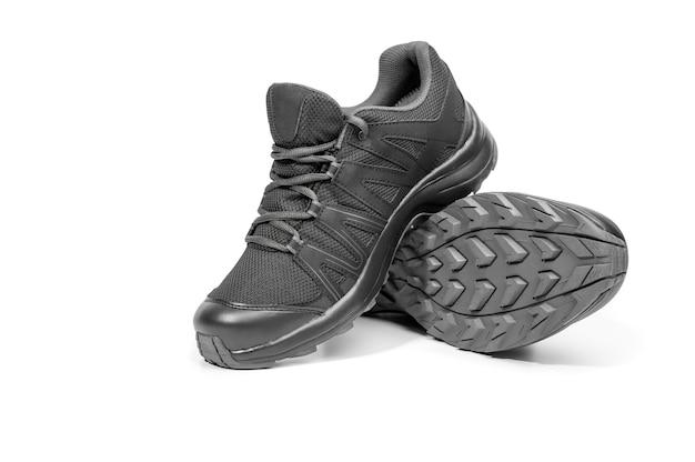 Chaussures De Course Baskets Noires. Chaussures Décontractées. Style De Jeunesse. Chaussures Pour Le Trekking, La Course, La Randonnée. Photo Premium