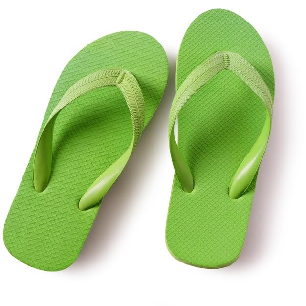 Chaussures De Plage Flip Flop Vert Isolé Sur Fond Blanc Photo gratuit