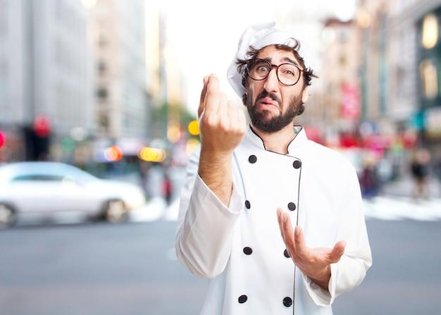 Chef cuisinier fou triste expression Photo gratuit