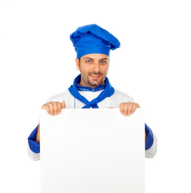 Chef avec panneau vide Photo Premium