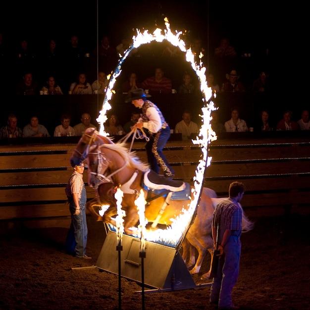 Cheval sautant à travers le feu à dixie stampede à branson, missouri Photo Premium