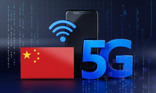 La Chine Est Prête Pour Le Concept De Connexion 5g. Fond De Technologie Smartphone De Rendu 3d Photo Premium