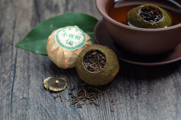 Chinois vert orange puer thé (texte chinois: thé orange vert) Photo gratuit