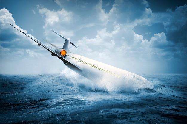 Chute d'un accident d'avion qui s'écrase dans l'eau Photo Premium