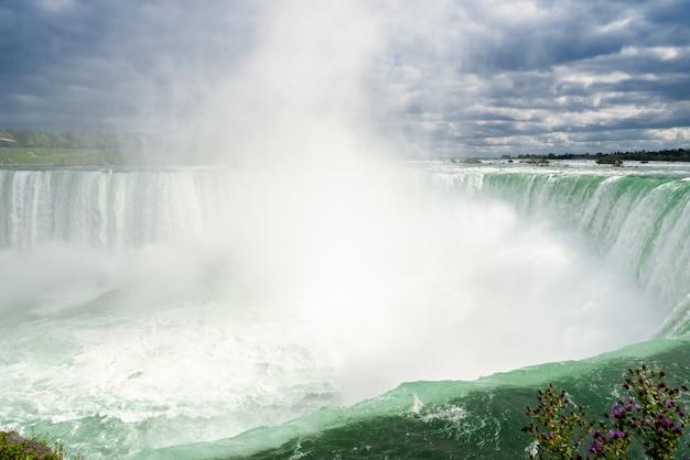 Chute d'eau de niagara des chutes de fer à cheval canadiennes au canada Photo Premium