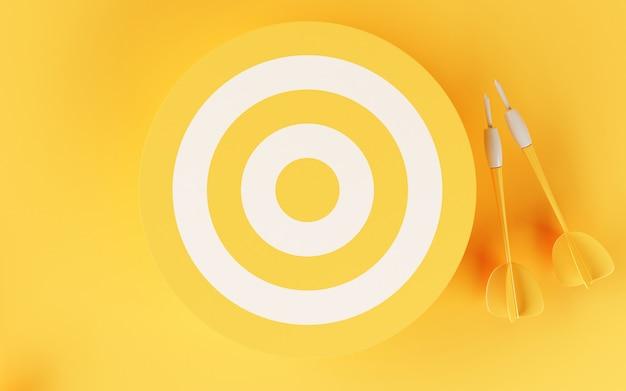 Cible 3d sur fond jaune. Photo Premium