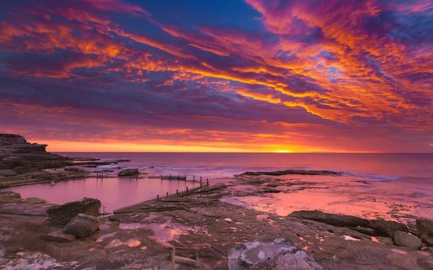 Ciel Et Coucher De Soleil Rose Photo Premium
