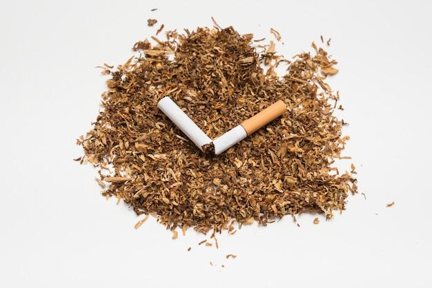 Cigarette brisée sur le tabac sur fond blanc Photo gratuit
