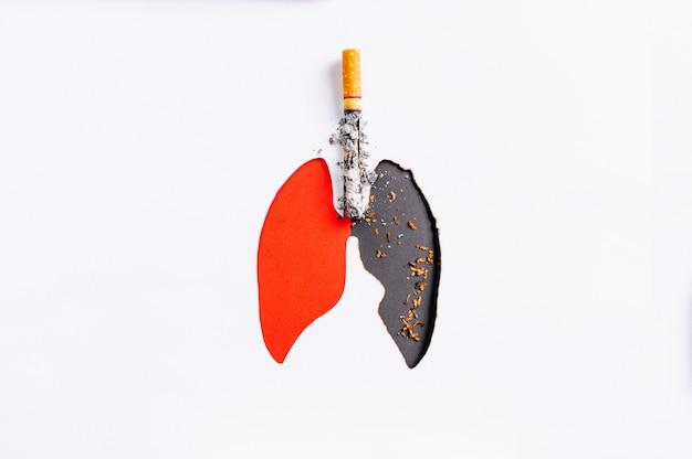Cigarette Brûlant Le Papier Des Poumons, Comparer Les Mauvais Poumons Et Les Bons Poumons, Copier L'espace, Arrêter De Fumer Photo Premium