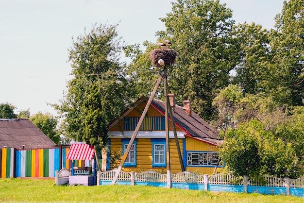 Les cigognes sont assises dans un nid sur un lampadaire près d'une maison colorée avec un puits. Photo Premium