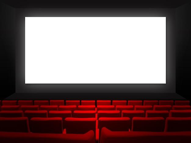 Cinéma Cinéma Avec Sièges En Velours Rouge Et écran Blanc Vierge. Photo Premium