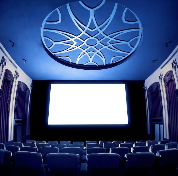 Cinéma Théâtre Montrant Un écran De Cinéma Blanc Vide Photo Premium