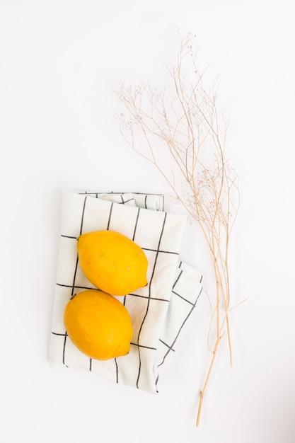 Citron biologique sur serviette et brindille sur fond uni Photo gratuit