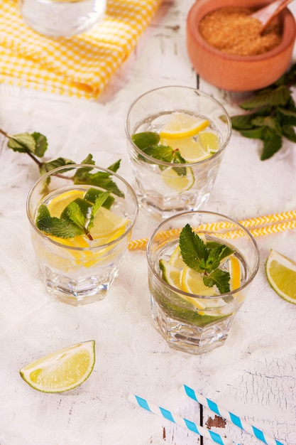 Citron maison et limonade citron vert servis avec menthe, glaçons et pailles Photo Premium