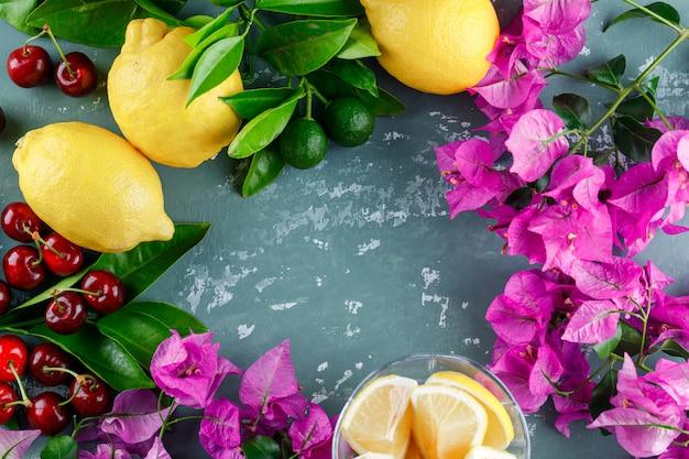 Citrons Avec Feuilles, Tranches, Fleurs, Cerises Sur La Surface Du Plâtre Photo gratuit