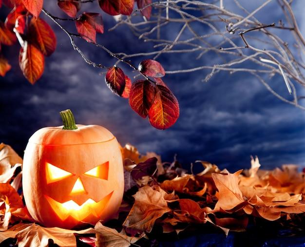 Citrouille de lanterne halloween dans les nuages de ciel noir Photo Premium