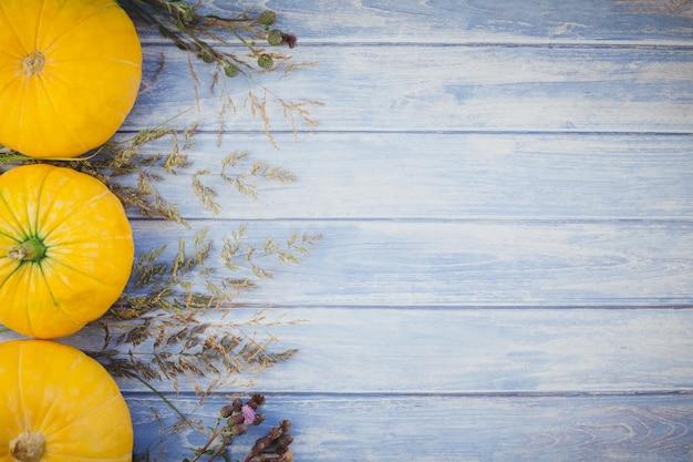 Citrouilles d'automne et fleurs séchées Photo Premium