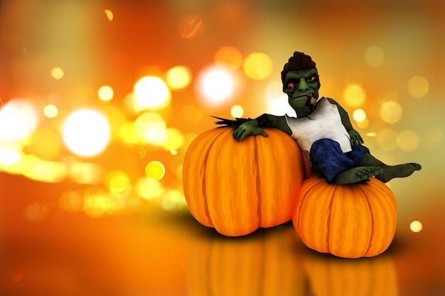 Citrouilles d'halloween 3d et zombie Photo gratuit
