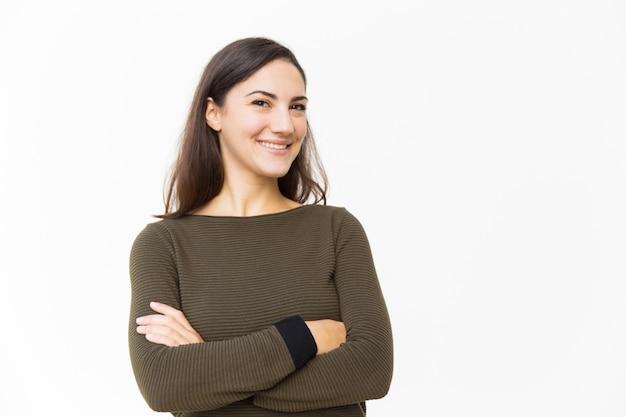 Clientèle Confiante Heureuse Posant Pour La Caméra Photo gratuit