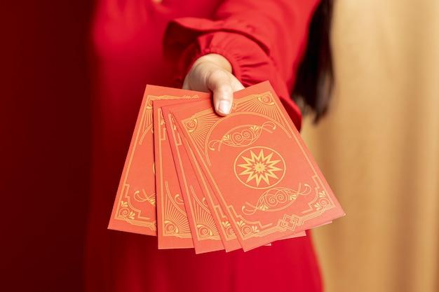 Close-up pour les cartes du nouvel an chinois Photo gratuit