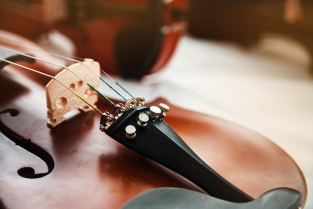 Closeup face du violon Photo Premium