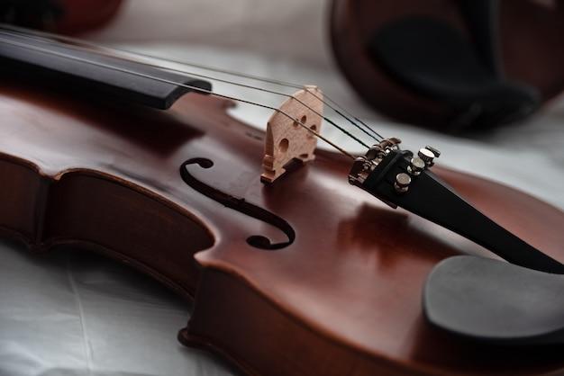 Closeup face du violon Photo Premium