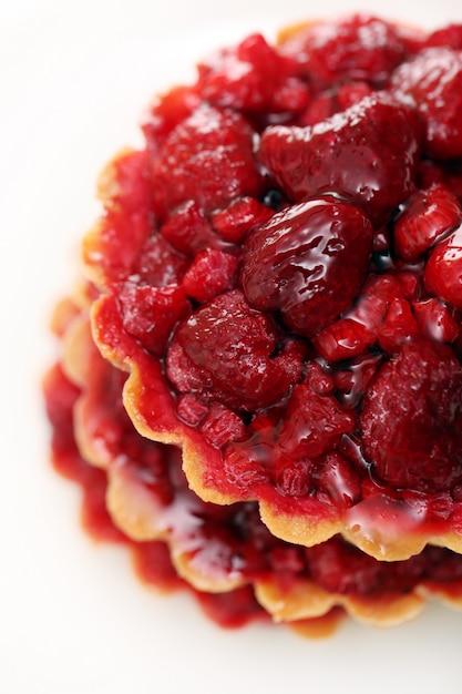 Closeup, gateau fraise Photo gratuit