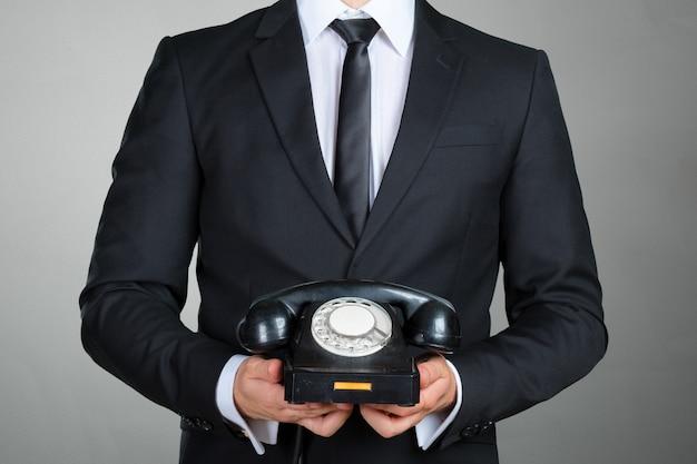 Closeup, Homme Affaires, Tenue, Téléphone, Récepteur Photo Premium