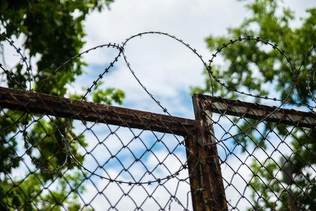 Une clôture avec des barbelés en plein air sur ciel et arbre Photo Premium